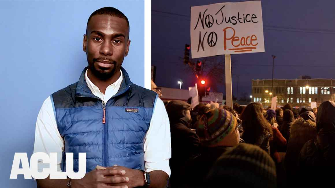 DeRay Mckesson, an adult black man, looks seriously at the camera next to a photo of a protest in which a sign with No Justice No Peace is prominently displayed.