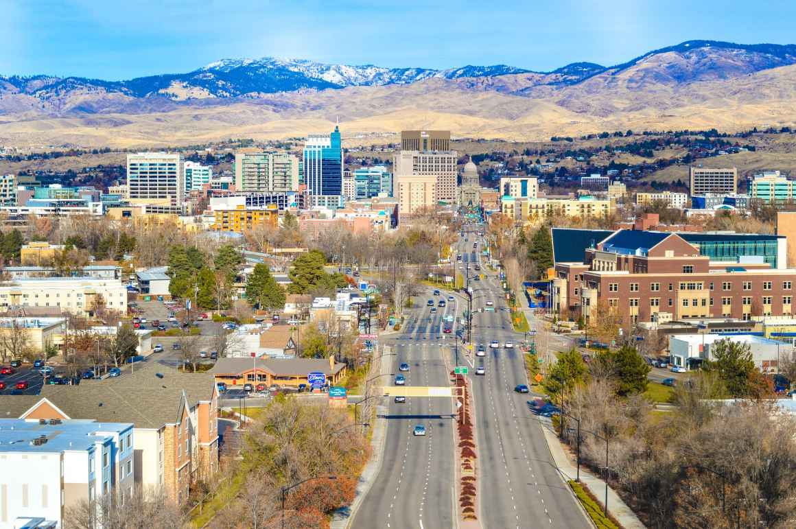 View of Boise downtown and foothills, from the Boise Depot