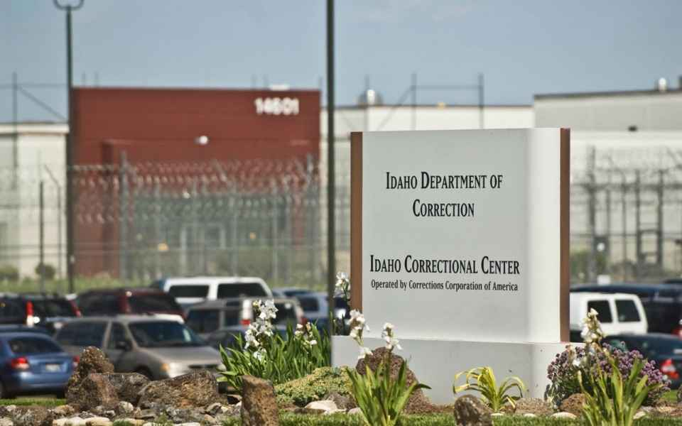 "sign in front of prison that reads ""Idaho Department of Correction Idaho Correctional Center"""