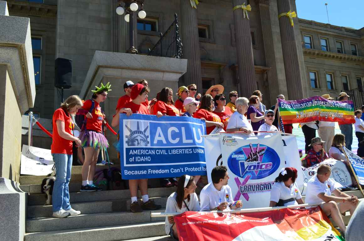 Lots of people on the capitol steps at the Pride rally