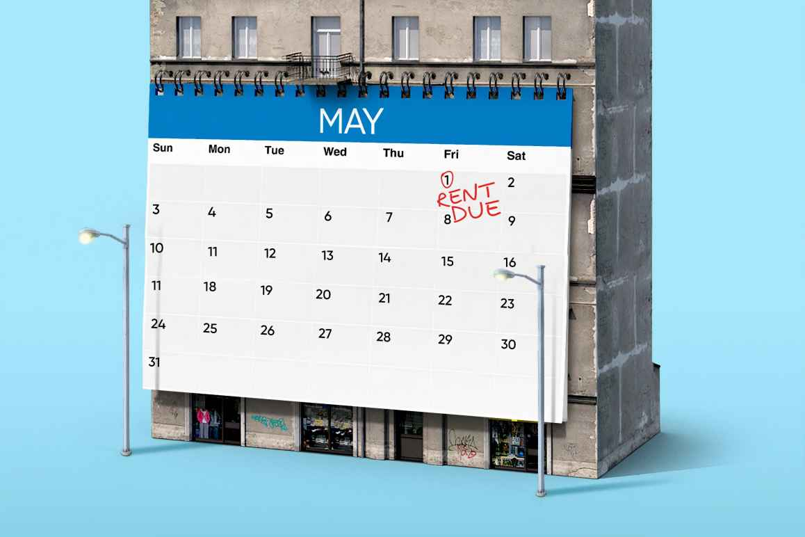 "Illustration with a huge calendar on a building showing ""RENT DUE"" on May 1"